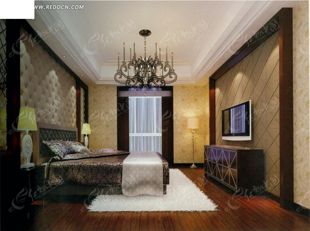 欧式华丽白色地毯卧室效果图
