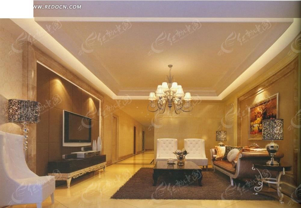 欧式暖色调客厅效果图
