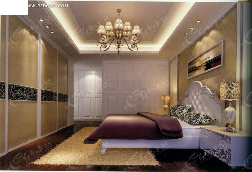 免费素材 3d素材 3d模型 室内设计 欧式低调奢华卧室效果图  请您分享图片