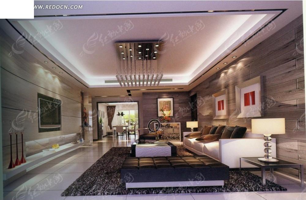 后现代宽大客厅效果图3dmax免费下载_室内设计素材
