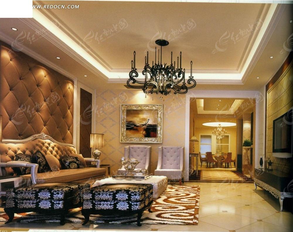 欧式奢华客厅效果图3dmax免费下载_室内设计素材