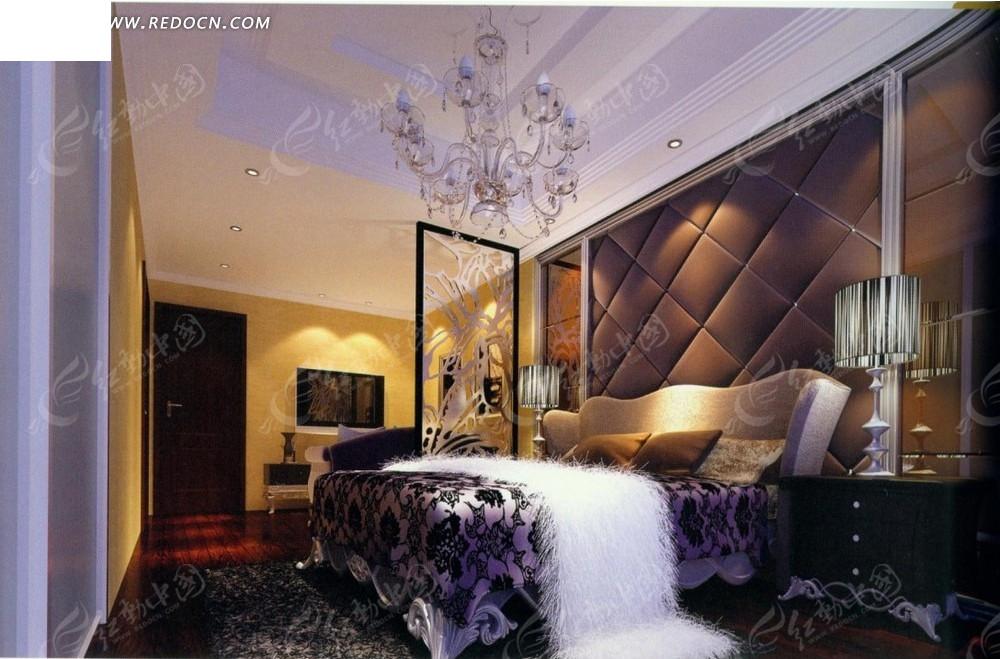 欧式紫色大床卧室效果图