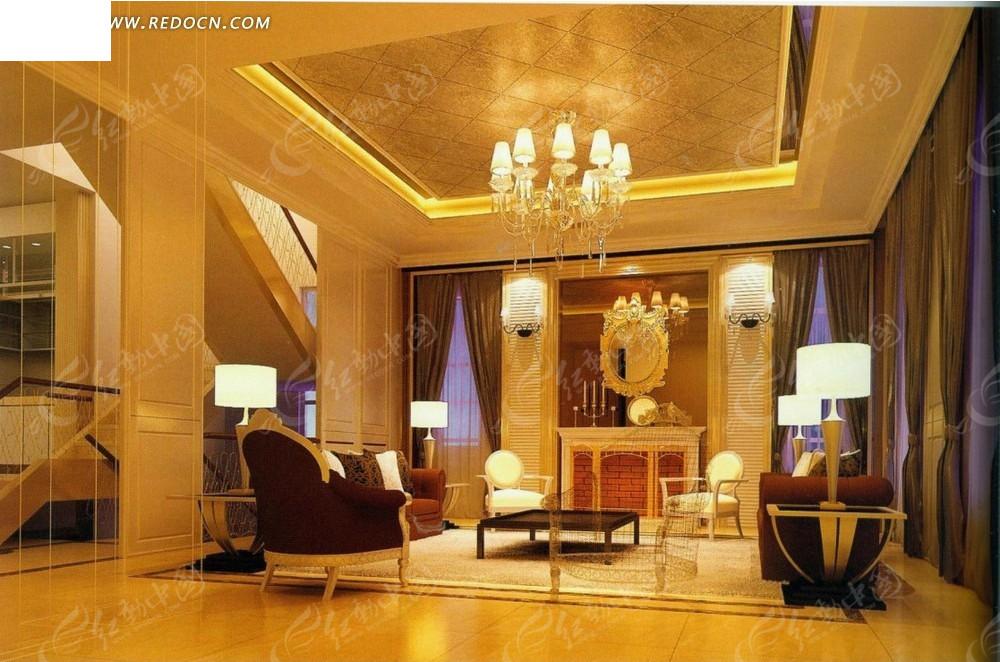 欧式金光闪闪跃层式客厅效果图