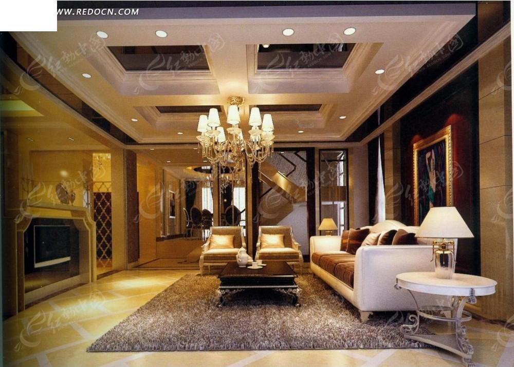 欧式金色客厅效果图图片