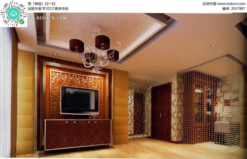 欧式雕花电视背景墙和珠帘_室内设计