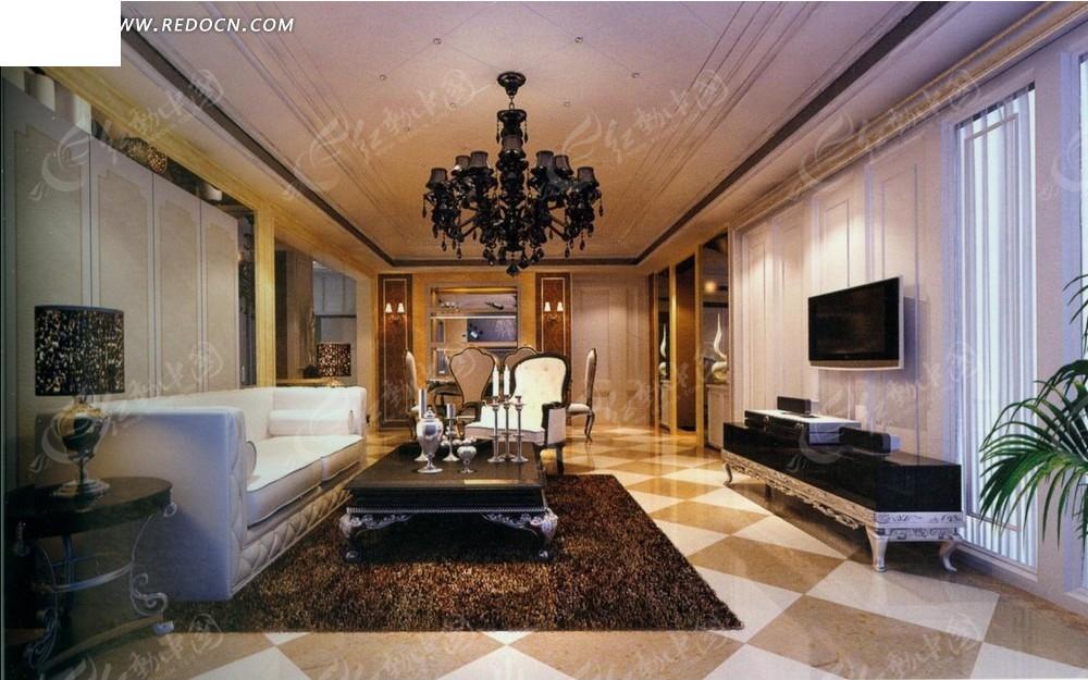 欧式华丽客厅效果图