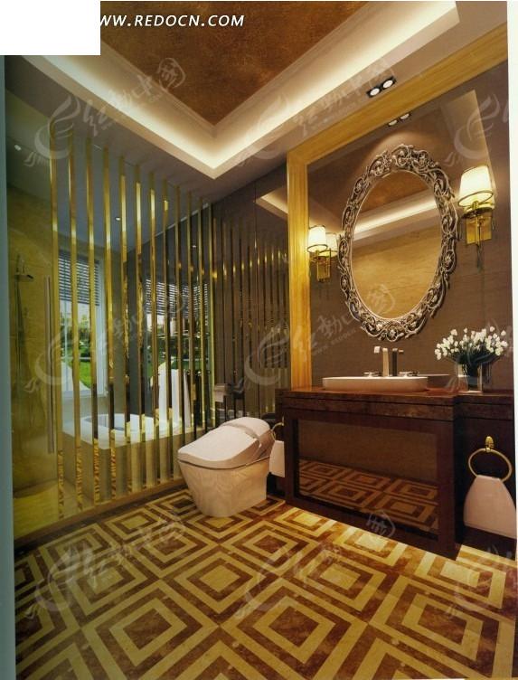 欧式华丽卫生间效果图_室内设计图片