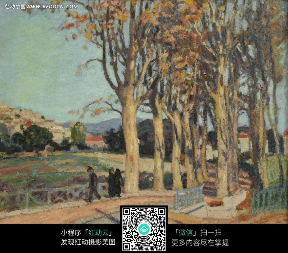 绘画作品 路边的高大树木和栏杆边的行人