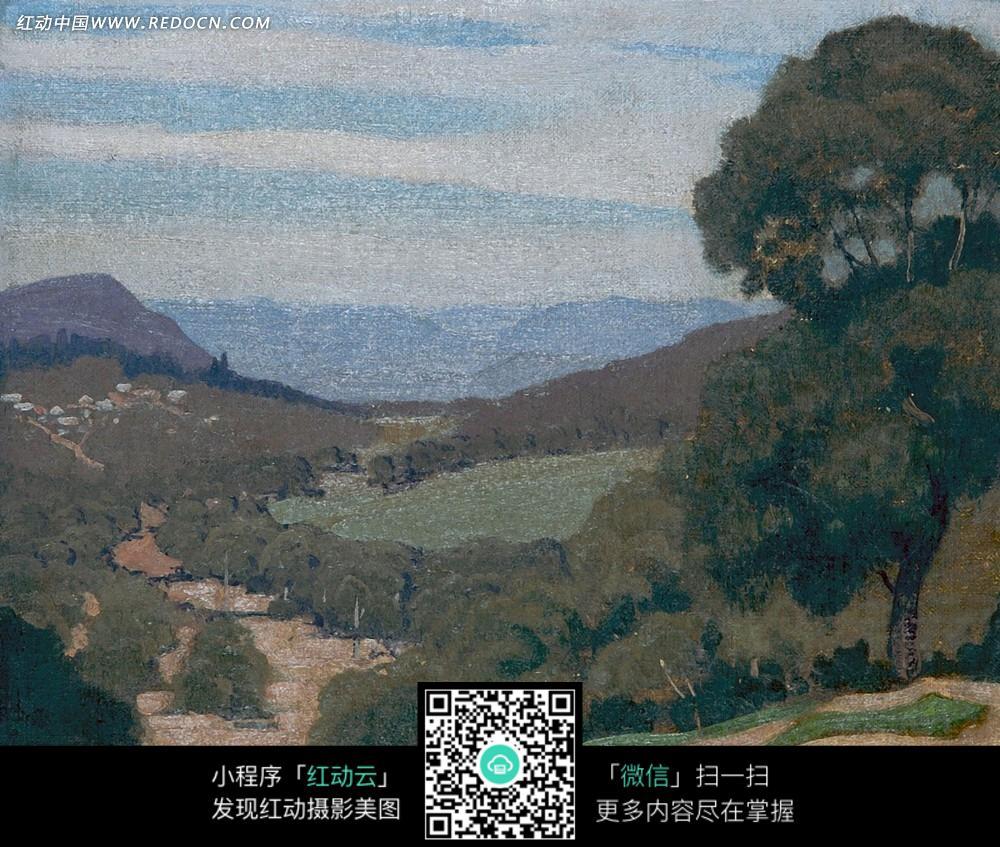 绘画作品-山坡上的茂盛树林图片