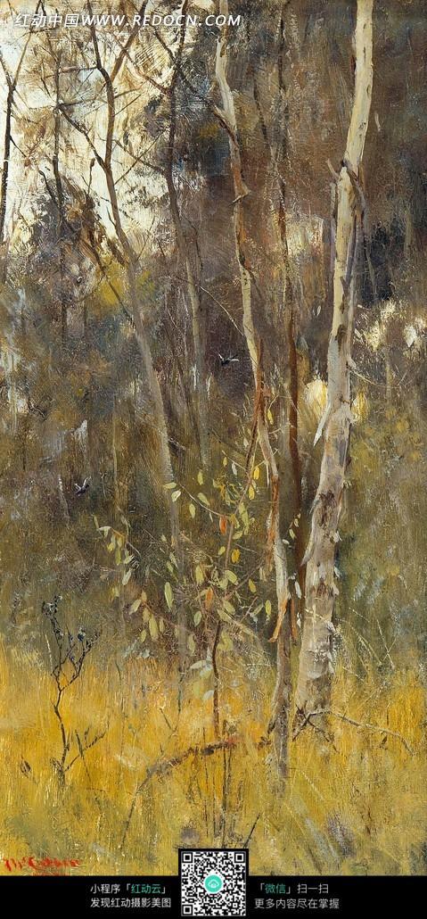 树木 植物 黄色草地 秋季 油画 绘画  绘画作品  西方艺术 书画