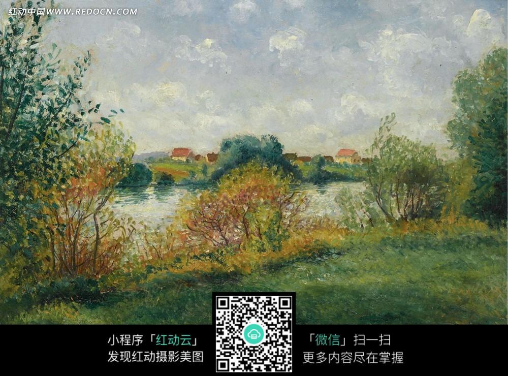 树木 植物 湖泊 草地 风景画 油画 绘画  绘画作品  西方艺术 书画
