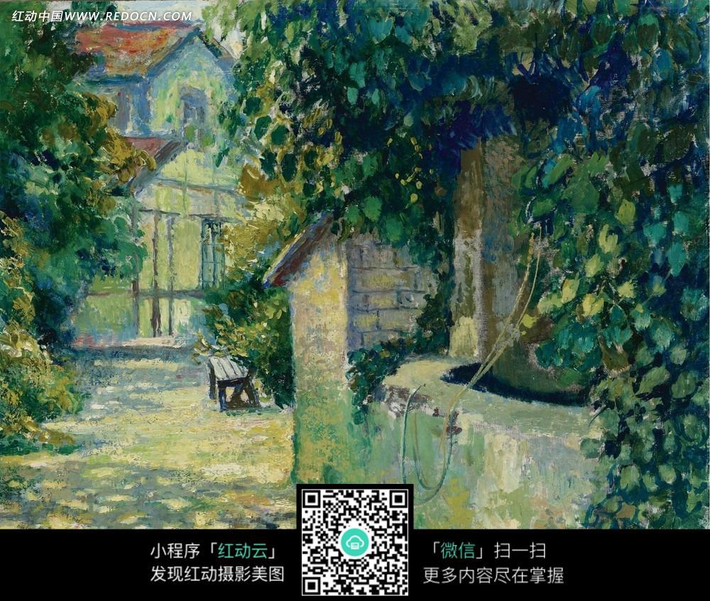 绘画作品-房子上爬着的绿色长藤植物图片