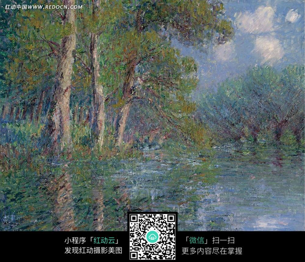 树林 树木 植物 湖泊 风景画 油画 绘画  绘画作品  西方艺术 书画