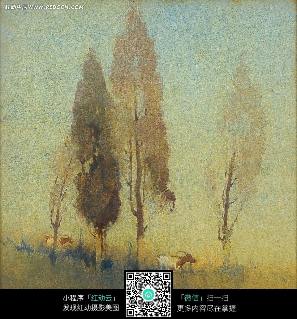 绘画作品-树木下草地上的山羊图片