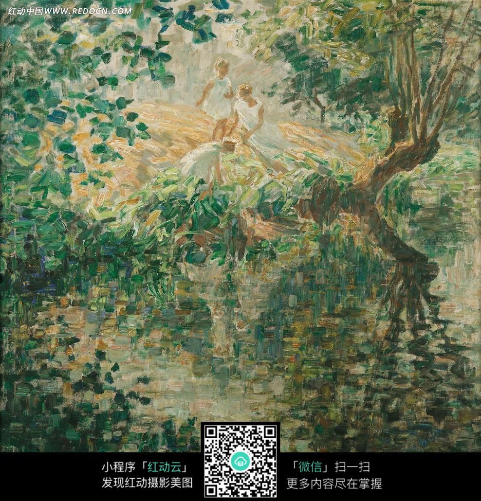 绘画作品-湖边的树木和白衣女士