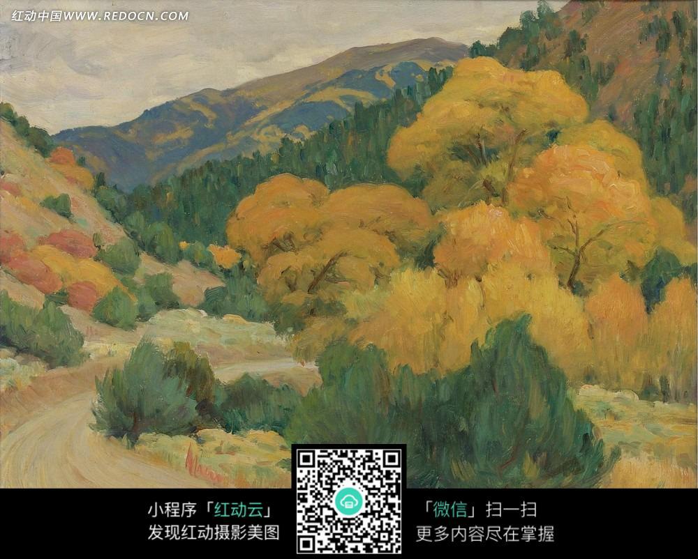 艺术 > 书画文字 > 绘画作品-弯曲道路旁的黄色树木