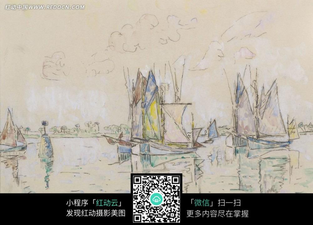 图片素材 文化艺术 书画文字 绘画作品-河流上的帆船和水中倒影  请您