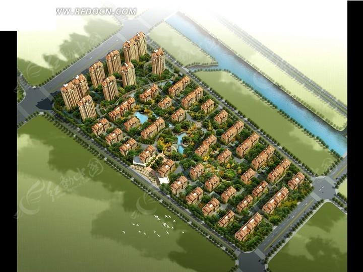 建筑效果图—绿色草地和河流以及城市居民区俯瞰图psd