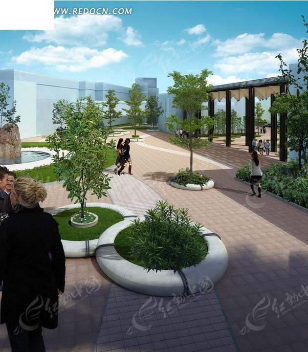 建筑效果图—蓝天白云下的道路和圆形草坪psd素材