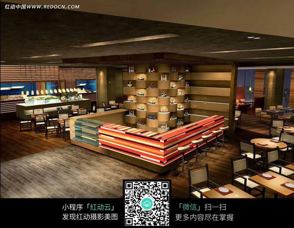 彩色餐厅柜台半圆酒柜和餐桌椅_室内设计图片