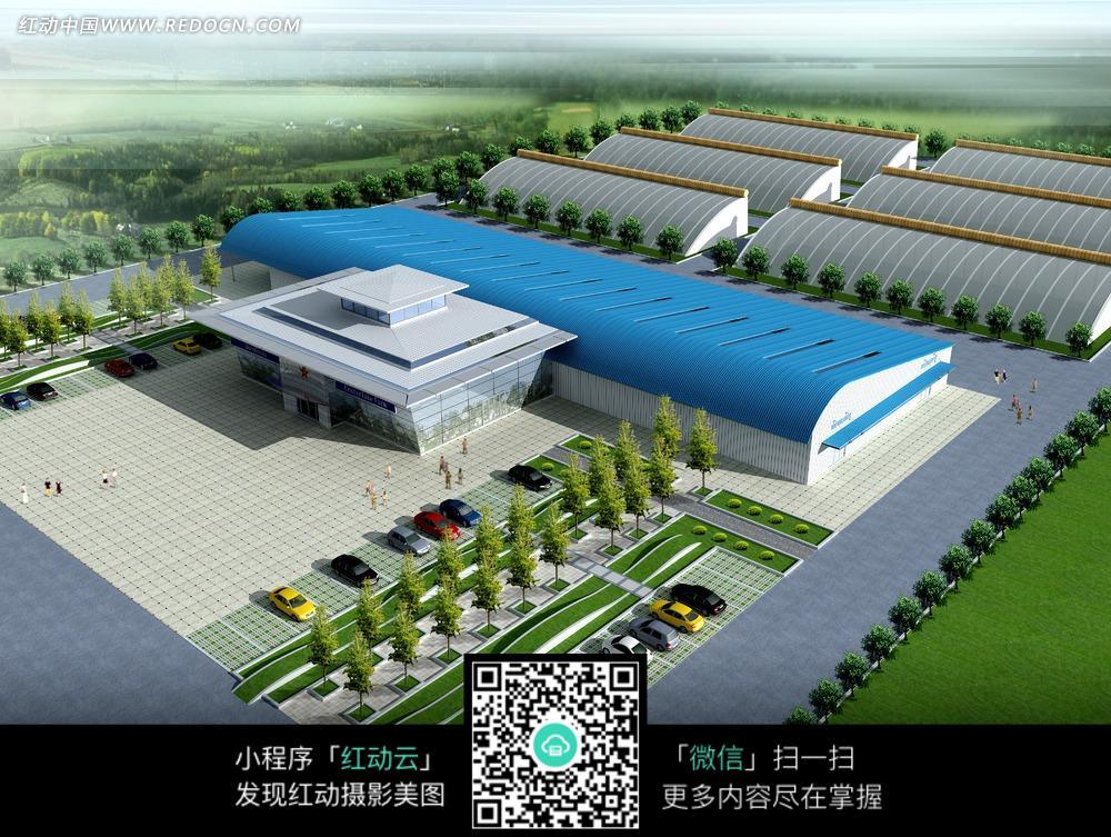 蓝色工厂厂房建筑效果图图片