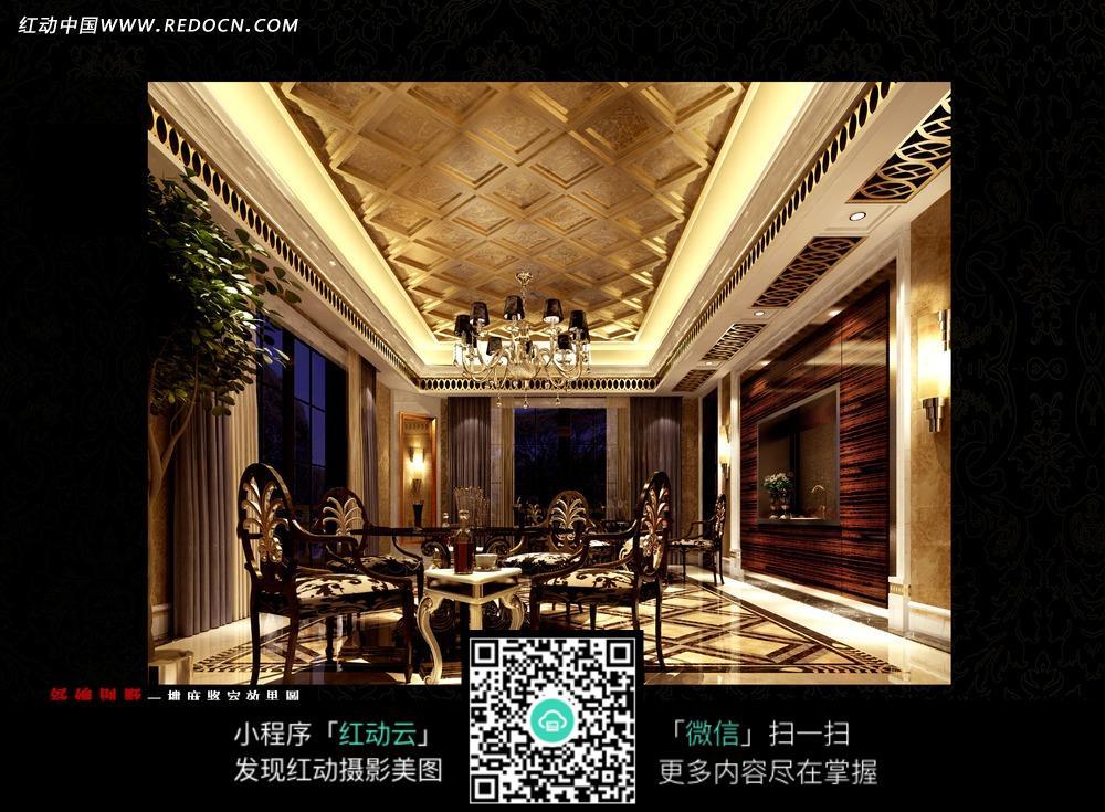 金色豪华餐厅内的餐桌椅和吊灯图片