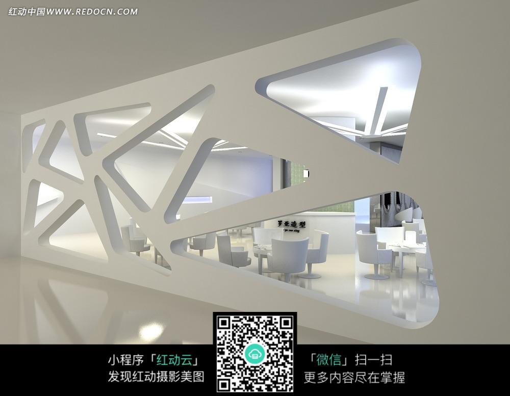 免费素材 图片素材 环境居住 室内设计 大厅白色镂空墙壁后的白色桌椅