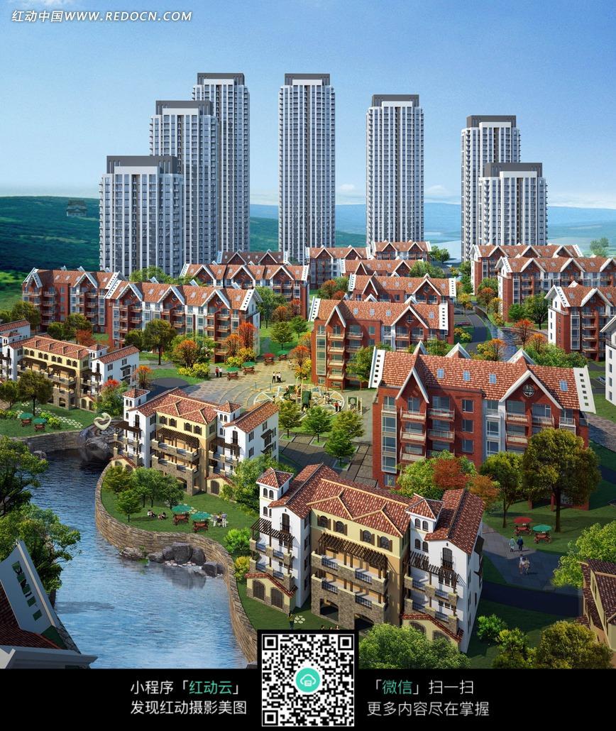 湖水边的小区居民建筑图片