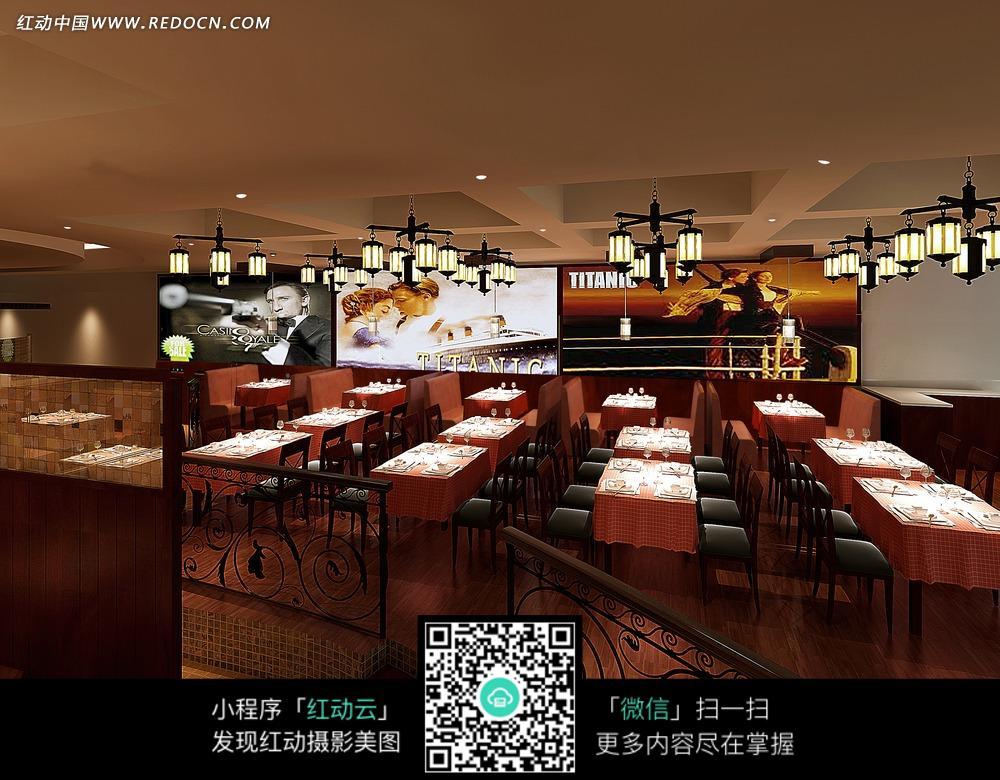 餐厅内的护栏和桌椅图片_室内设计图片