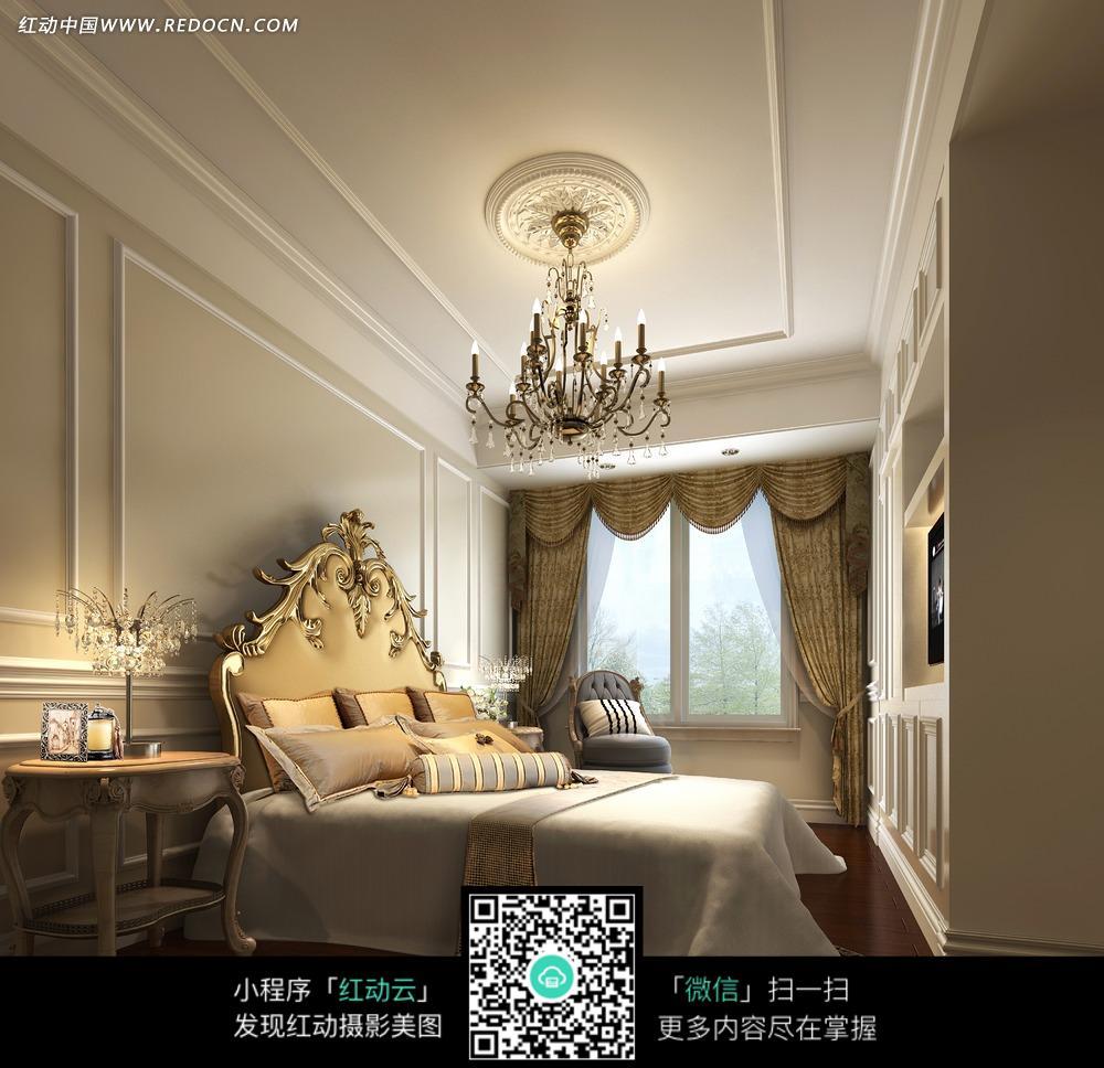 欧式卧室里的双人床和吊灯图片