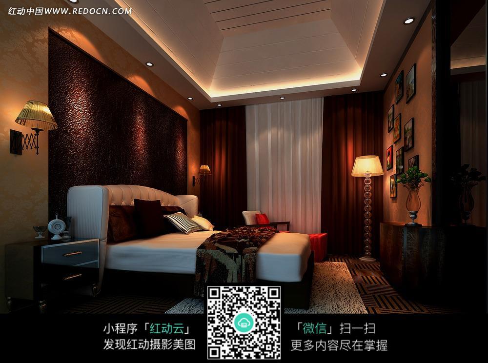 免费素材 图片素材 环境居住 室内设计 晚上卧室里的灯光和双人床图片