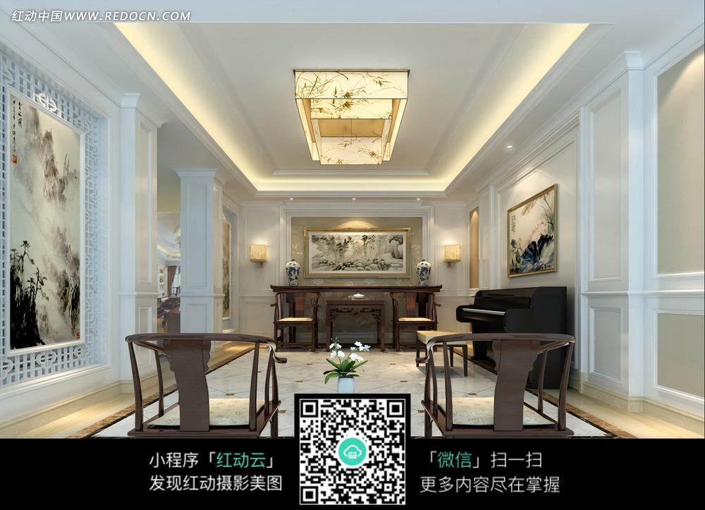 客厅里实木的椅子和钢琴图片