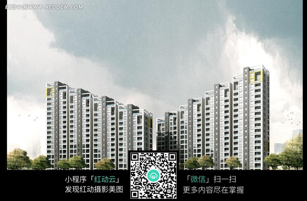 多层建筑效果图 多层楼房建筑效果图 欧式高层建筑效果图 欧式别墅