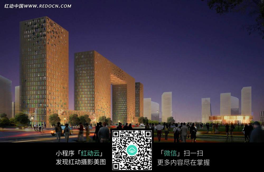 夜晚简约金色大楼效果图图片