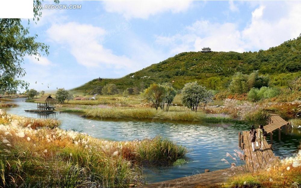 公园风景效果图—高山下的河流和木桥psd素材