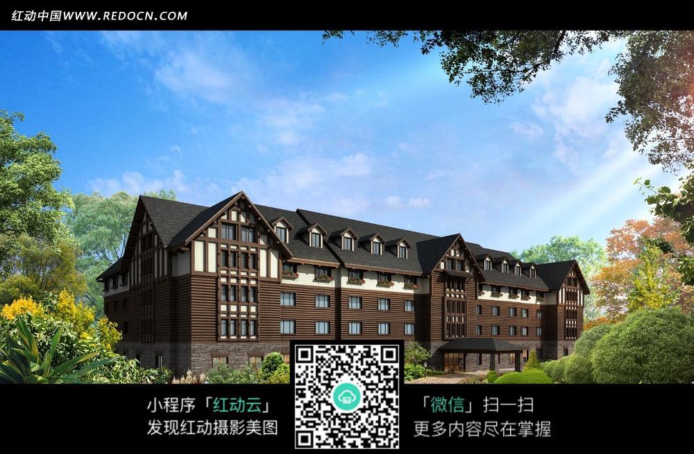 黑色屋顶欧式别墅建筑效果图图片