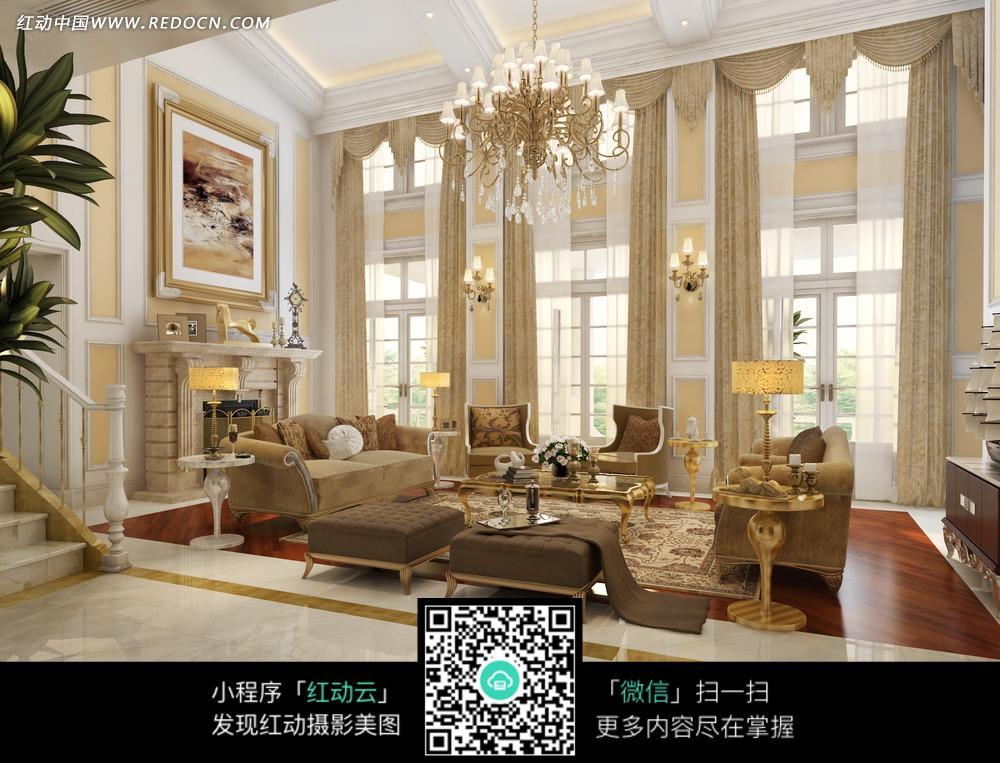 跃层式欧式华丽客厅效果图图片