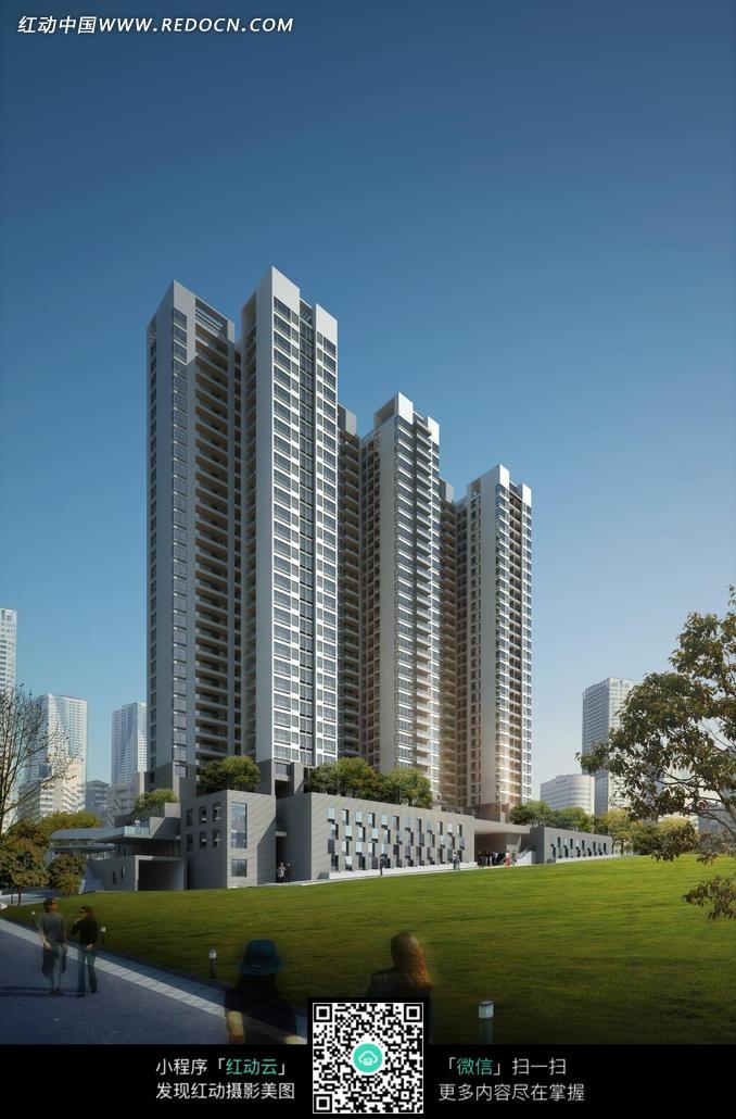 建筑效果图草地上的直立现代高层住宅建筑图片 高清图片