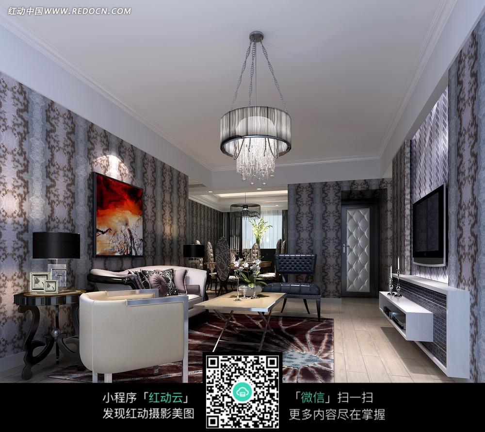 创意简欧新古典宅客厅吊顶装修图欣赏