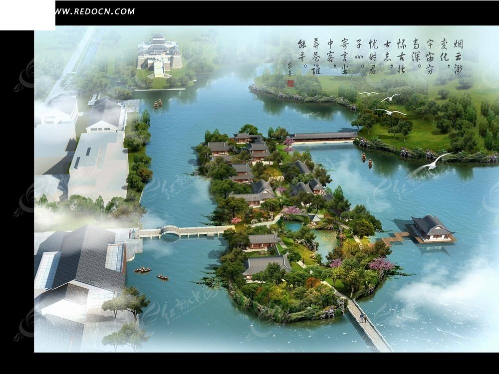 岛屿鸟瞰效果图—江面上的岛屿和连接桥psd素材