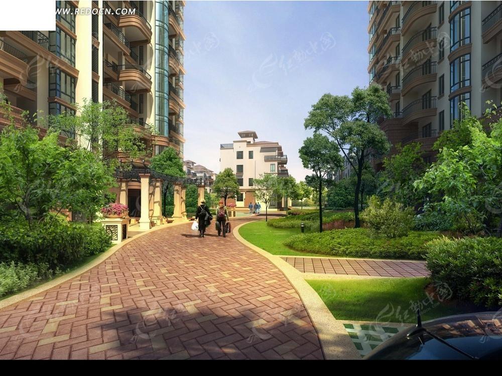 居民区效果图—小区建筑下的道路和绿化psd素材