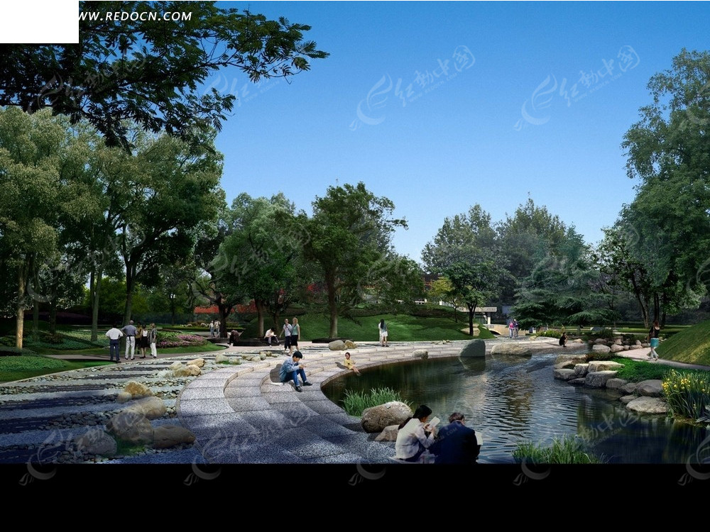 公园效果图—河边的道路和绿树psd素材