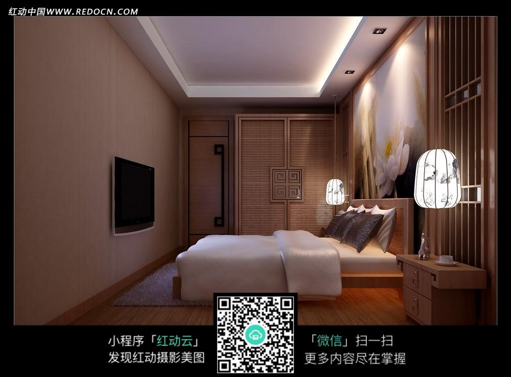 免费素材 图片素材 环境居住 室内设计 宁静大方卧室效果图图片