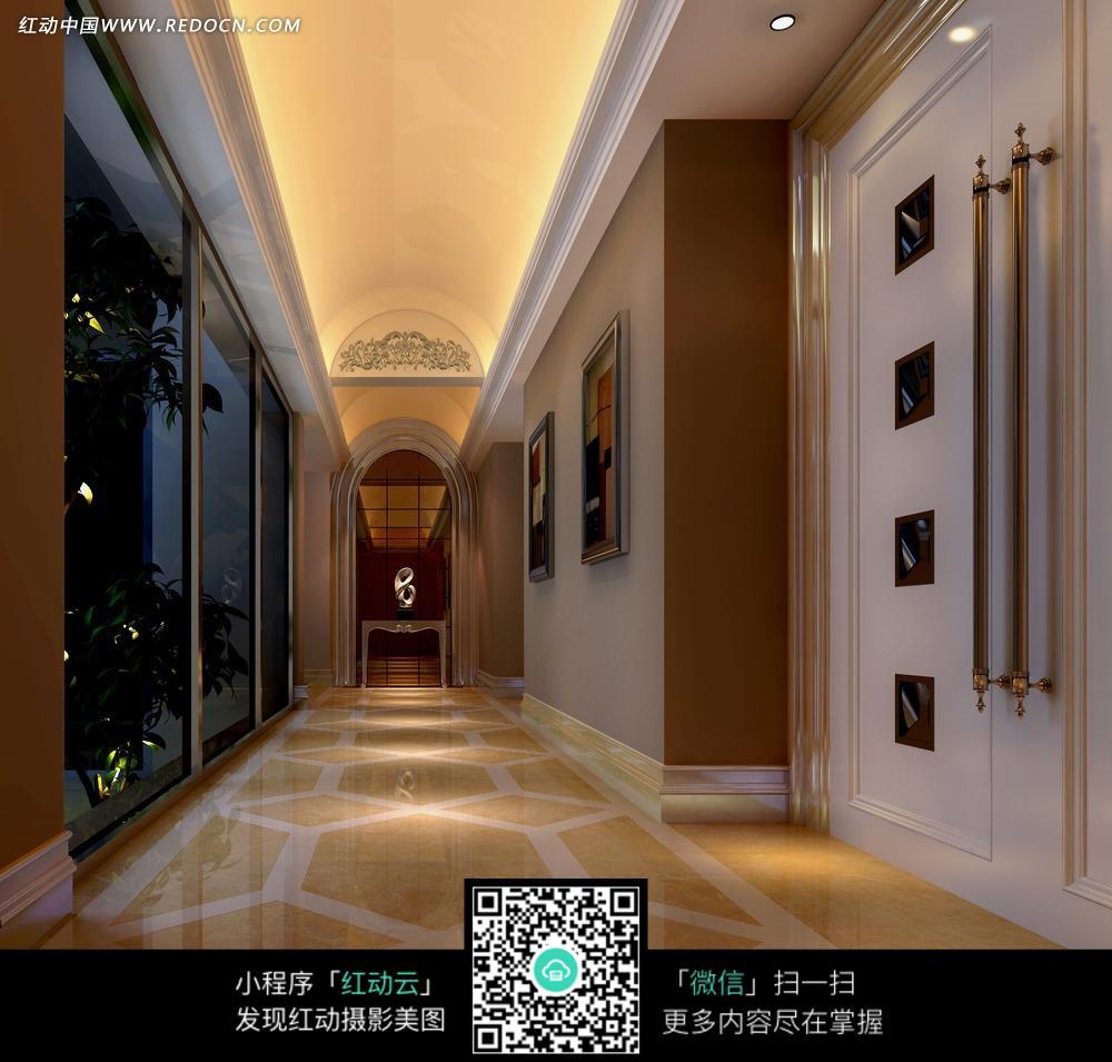 免费素材 图片素材 环境居住 室内设计 > 欧式华丽走道效果图图片