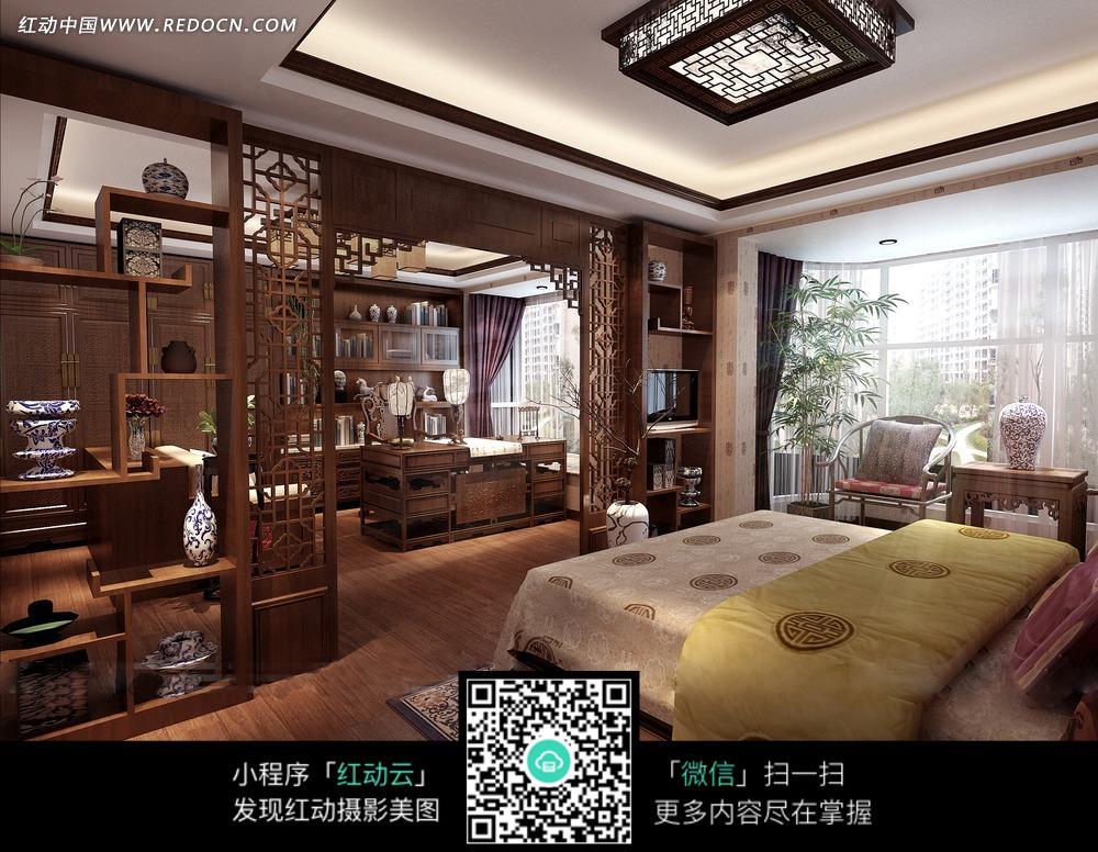 开放式古典卧室书房效果图图片