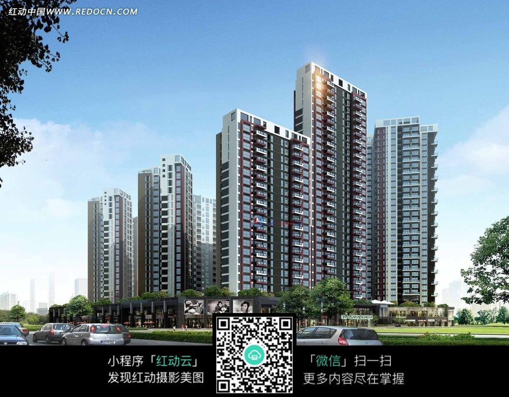 城市高层楼房建筑设计效果图