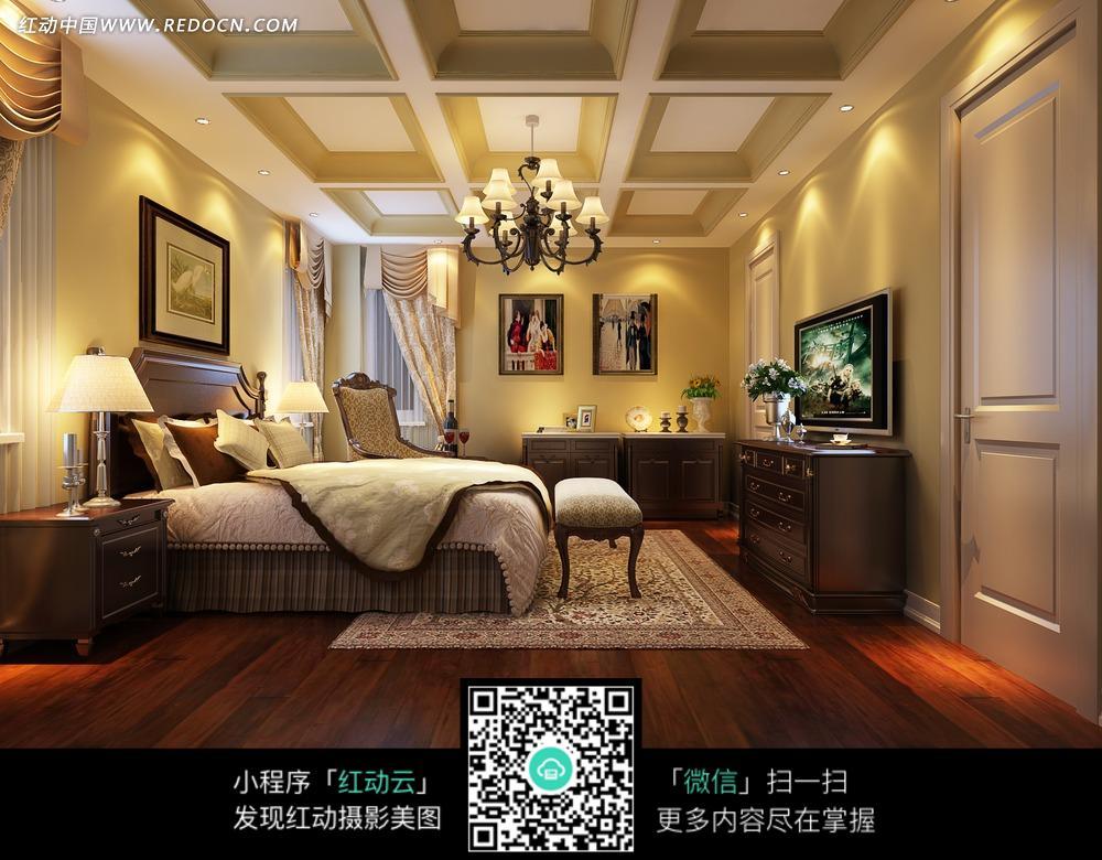 欧式暖色调卧室效果图图片