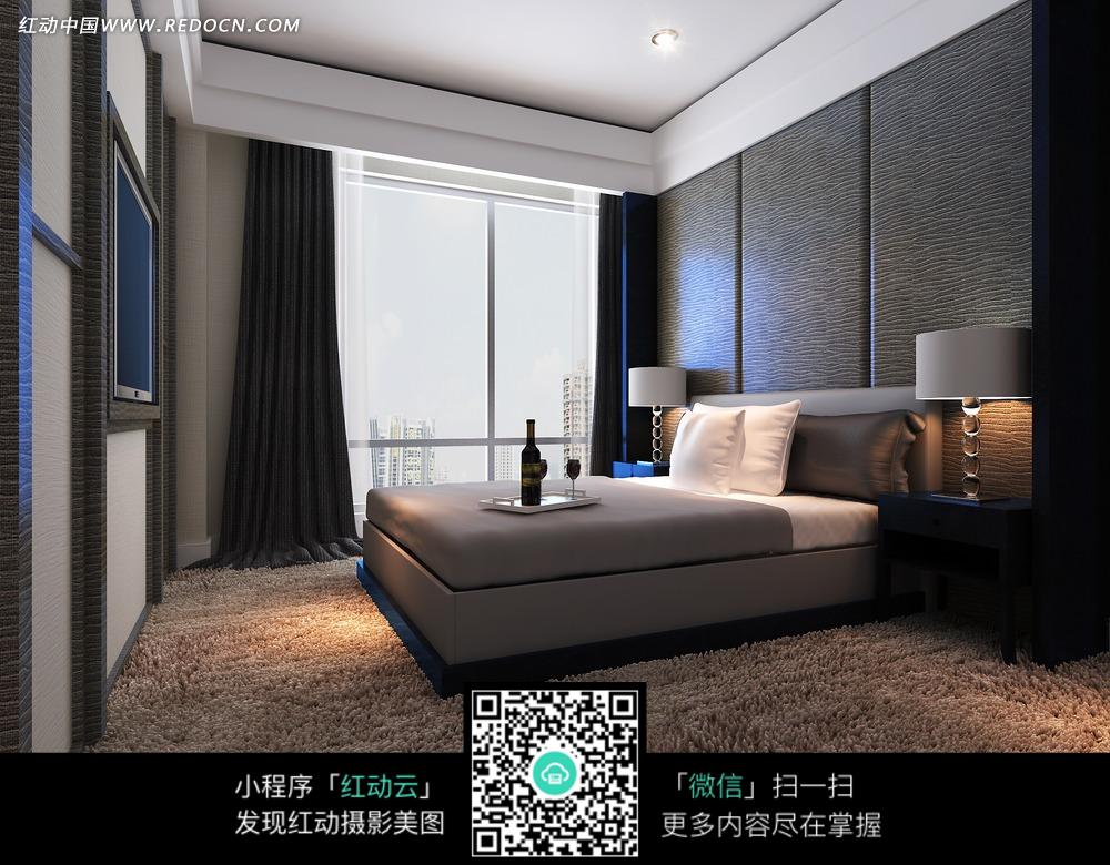宁静大方地毯卧室效果图图片