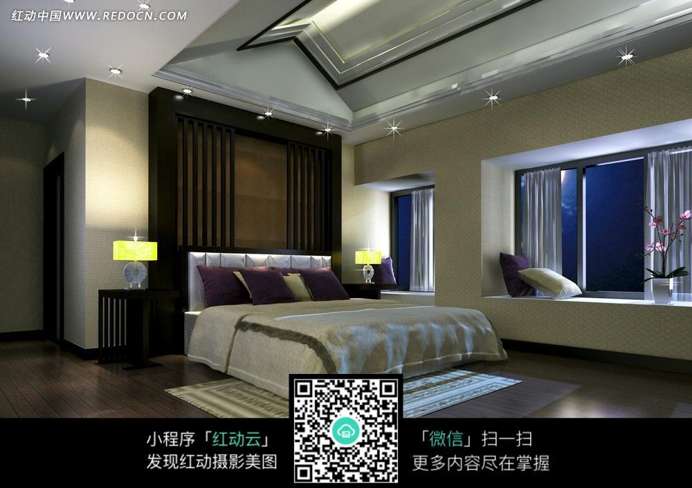 现代都市卧室效果图图片