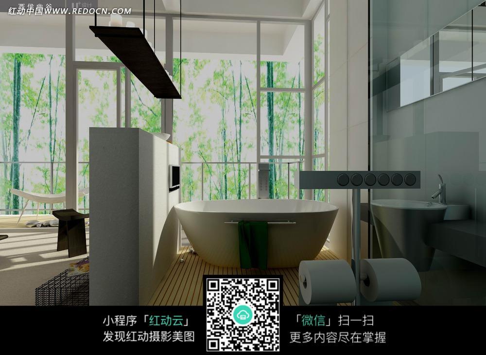 免费素材 图片素材 环境居住 室内设计 白色矮墙后的白色浴盆和墙壁上